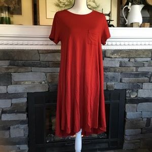 LuLaRoe Carly pomegranate red high low dress swing